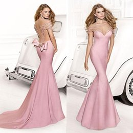 Wholesale Tarik Ediz Mermaid Prom Dresses Pearls Beading Formal Evening Gowns Sheer Scoop See Through Back Floor Length Satin Party Dress