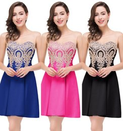 Wholesale Under Cheap MiniShort Homecoming Dresses A Line Sheer Jewel Neck Appliques Backless Real Photo Cocktail Party Gowns CPS361