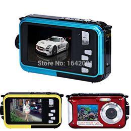 Alta qualidade impermeável 24MP HD câmera digital duplo telas esporte câmera hd câmera de vídeo digital 1080p CMOS 16x Zoom Camcorder w / 16GB