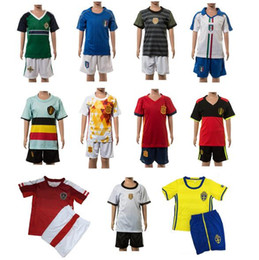 Wholesale DHL Euro Cup Kids Children Sports Jersay The Quarter Finals France German Wesh Portugal Kids Two Piece Sports Clothes Football Suits