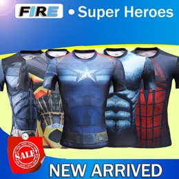 Wholesale 2016 USA Under Base Marvel Super Heroes superman Batman Captain America Transformers short T shirts Avenger D breathable tights Gym fitness