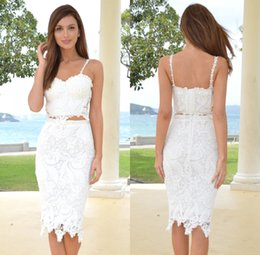 Wholesale 2016 Hot Sale Summer Mid Calf Two Pieces Cocktail Dresses Vestido De Festa Curto White Knee Length Short Prom Dresses Lace Party Gowns