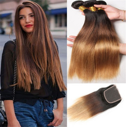 Discount ombre weaves closure 8A Ombre straight Hair Extensions #1b 4 27 Honey Blonde Ombre Human Hair 3Pcs With Lace Closure Three Tone Body Wave Hair Weave