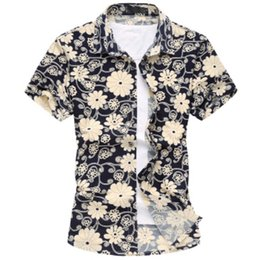 Wholesale Summer Casual Floral Shirts For Men Fashion Mens Short Sleeve Silk Hawaiian printing Shirt Plus Size M XL