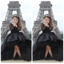 Wholesale 2017 Lovely Black Ball gown Girls Pageant Dresses High Low Satin Tulle Hot sale Cheap Long Sleeves Little Flowers Girls Dress For Children