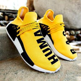 online shopping 2016 Pharrell Williams NMD HUMAN RACE In Yellow red black blue grey green white men women Classic Fashion Sport sneakers Shoes eur