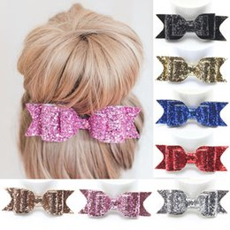 Wholesale Pinces à cheveux accessoires de Halloween NT Fashion Women Girls Sequin Big Bowknot Barrette épingle à cheveux pinces à cheveux Hair Bow halloween boutique cheveux arcs