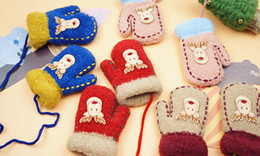 Wholesale New Arrival Baby Deer Gloves Mittens For Children Kids Cute Cartoon Animal Wool Winter Warm Mitten Xmas Gift