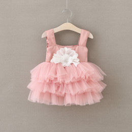 Wholesale Nouveau Baby Girls Lace tutu Robes Girl Princess Party Dress Enfants Fille Automne Floral Cake Robe Babies Noël vêtements