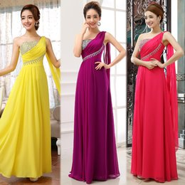 Wholesale 2016 Fashion Sexy One shoulder Sequin and Beaded A line Long Prom Bridesmaids Dresses With Ribbon Coral Auqa Purple Evening Gowns Cheap
