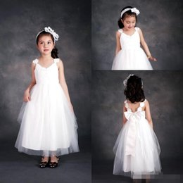 Wholesale 2016 White Tulle Lace Cap Sleeves Flower Girls Dresses for Weddings With Bow Ankle Length Long Girls Casual Dresses Cheap Kids Formal Wear