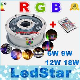 RGB luces subacuáticas Fuentes Led 6W 9W 12W 18W llevó Piscina Luces CA 12V 24V enciende el LED impermeable