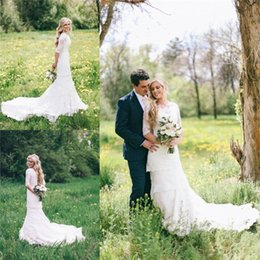 Wholesale Simple Full Lace Tiered Wedding Dresses Scoop Neckline Half Sleeves Bridal Gowns Sweep Train Custom Made Wedding Dress