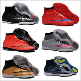 Wholesale Soccer Shoes Mercurial Superfly Proximo Indoor IC Men Football Shoes Trainers ACC Football Boots Mens Cheap Sports Cleats