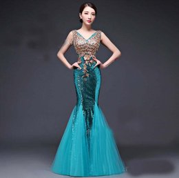 Wholesale 2016 new Sexy v neck high grade lace Fishtail skirt Bridal gowns Toast long dress Evening Dresses