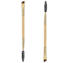 Wholesale 2016 Brand New Tarte Professional Makeup tools bamboo handle double eyebrow brush eyebrow comb makeup brush