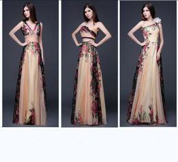 Wholesale Fashion Design Women Chiffon Print Long Evening Party Gown Luxury Ladies Floor Length Vestido De Noiva Bridesmaid Prom Wedding Formal Dress