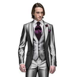 online shopping New Arrival Silver Slim Fit Mens Wedding Suits Custom Peak Lapel One Button Groom Tuxedos Groomsman Prom Party Suits jacket Pants vest tie