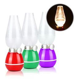 La novedad de la vela LED regulable colorido Blowing lámpara recargable USB Control de Retro lámpara de keroseno Blow ajustable de encendido y apagado de las luces de la noche