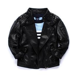 Wholesale Cool boys kids coat Quality locomotive PU leather jacket Rivets big collar handsome children Autumn winter jackets outwear