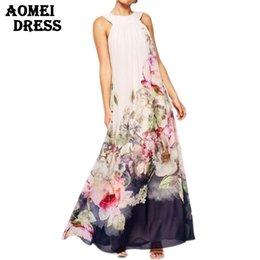 Wholesale Woman Fashion Boho Maxi Print Floral Dresses Plus Size White Long Dress Sleeveless Summer Sundress Vestidos Beachwear Dress Robe