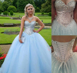 Wholesale Crystals Quinceanera Dresses Charming Ball Gowns Sweetheart Lace up Occasion Dress Sweet Prom Debutante Gowns New Design Fashion