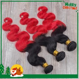 Discount ombre two tone color virgin hair Ombre Hair Extensions Peruvian Virgin Hair Body Wave Two Tone Color 1B Red 3pcs Lot Ombre Human Hair Weave Remy Hair Weft