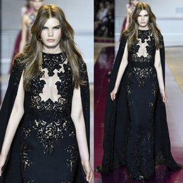 Wholesale Zuhair Murad Evening Dresses With Wrap Appliques Custom Made Prom Dress Hollow Beaded Sequined Party Gowns