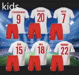 Wholesale Best quality poland kids kit football shirts in white house Polska Poland Lewandowski Piszczek Koszulki football shirts