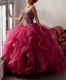 Wholesale Dark Red Quinceanera Robes Keyhole Back Crystal Beading Masquerade Ball Gowns Ruffled Ball Gown Princess Debutante Robes