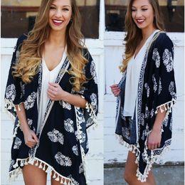 Wholesale Vintage Tassel Kimono Cardigan Flower Print Blouse Spring Boho Ethnic Women Fringed Kimono Shirt Jacket Sunscreen