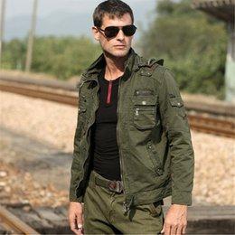 Wholesale Aire libre ocasional de los hombres de la chaqueta para hombre del bombardero chaquetas con capucha desmontable de carga de la chaqueta A955 Militares del Ejército Estilo de vestir exteriores Marca