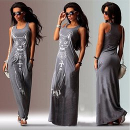 Wholesale Women Summer Sexy Small Cat Print Casual Boho Long Maxi Evening Party Beach Dress Vest Sundress