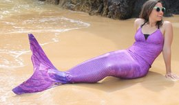 Wholesale GIRLS Sexy Cosplay PURPLE Swimmable Mermaid Tail Costume with MONOFIN