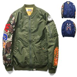 Wholesale New Pilot Flight Jacket New Man Green Blue Bomber Jackets Coat Shark WGM Printed Hip Hop Sweatshirt Hoodies Outwear FXF0726