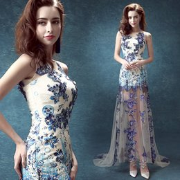 Wholesale Blue and white porcelain bride married toast annual dinner show will be short in front long bridesmaid wedding dress