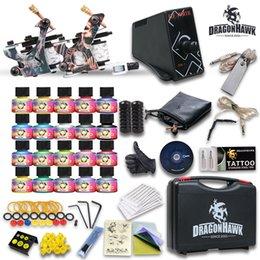Wholesale Tattoo Kit Machine Guns USA Color Ink Needle Power Supply Set Tips HW GD