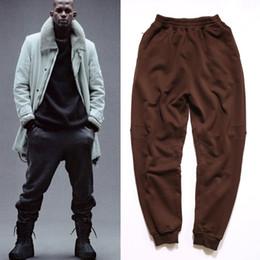 Wholesale 2016 TOP Kanye west season oversized Jogging pants men s harem Pants HipHop kpop Casual pocket zipper pencil pants Label