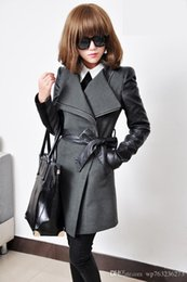 Wholesale New products New casaco feminino inverno Brand long wool winter coat Women with leather sleeves High quality manteau femme New2016