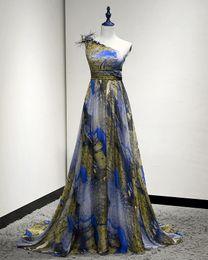Wholesale 2016 One Shoulder D flower Peacock Prom Dress High Floor Length Chiffon vestido de festa Formal Evening Gown