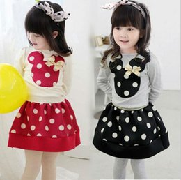 Wholesale Autumn Cute Minnie Mouse Clothes Baby Toddler Girls Clothing Sets Kids Outfits Children Casual T Shirt Dots Tutu Skirt Red Black SV014474