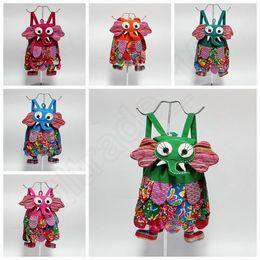 Étnica forma, tipo de animal para niños Mochila para niños elefante Bolsas para niños niñas de la escuela de la manera bolsos coloridos bolsa de 10 colores QQA293