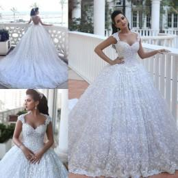 Wholesale 2016 Lace Ball Gown Wedding Dresses Backless Bridal Gowns with Cap Sleeves Sweetheart Beaded Bodice Cathedral Wedding Gowns