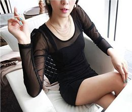 2017 night out black dresses Dresses Party Evening Women Fashion Sexy Skinny Cotton Hip Package Net Lace Hollow Out Knitting Black Dresses Wholesale Drop Shipping SD002 cheap night out black dresses