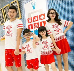 Wholesale family shirts set free shipment summer print red white short sleeve couple clothes family matching casual animated cartoon