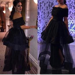 Wholesale 2017 Arabic Dresses Pearls Long Evening Dresses With Sleeves Appliques Designer A Line Black Formal Dresses Plus Size