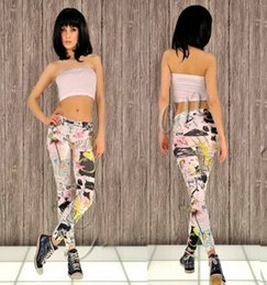 Wholesale Europe and the United States in spring and autumn thin thin elastic geometric graffiti personalized printing lady Leggings