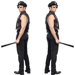 2017 sexy black police costume Sexy Stage Cosplay Police costumes Halloween Costumes for men