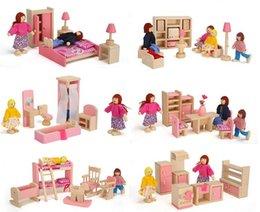 2016 dollhouse furniture bedroom wooden pink miniature dollhouse furniture kids toys set bedroom kitchen dinner living affordable dollhouse furniture