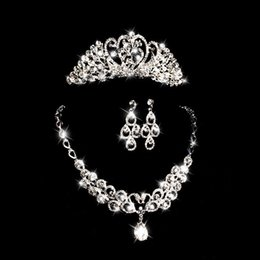 Wholesale Bridal Jewellery Set Luxury Bridal Jewelry Sets Crystal Wedding Crown Earrings Necklace Tiaras Accessories Fashion Headdress
